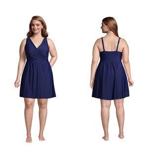 Lands end Surplice Wrap Dress Piece Swimsuit